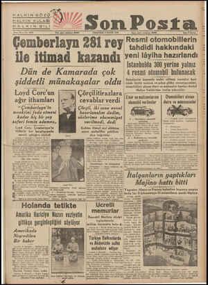 HALKIN GÖZÜ,.? HALKIN KULAĞI £ HALKINSOTAİ n aa Sene 10 — No. 3812 Yanı işleri telefonu: 20203 PERŞEMBE 9 MAYIS 1940...
