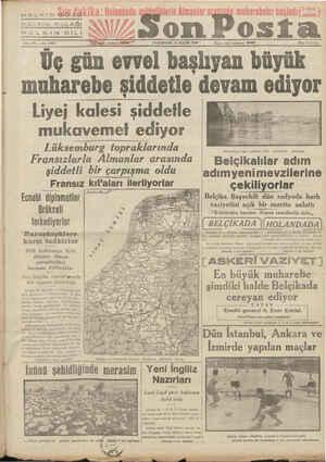 """mm e HALKIN GÖZÜ HALKIN KULAĞI HALKIN ELİN on Posia Sene 10. .— No, 3516 Yaf ileri telefonu"""" 20209 PAZARTESİ 13 MAYIS 1940"""