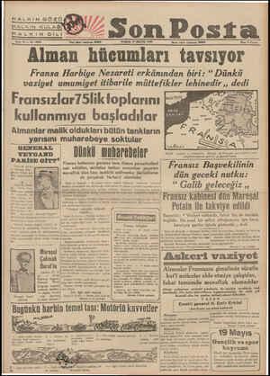 HALKIN &BÖZÜ HALKİN KULAĞI KA LKİIN ÖGİLİ Beno 10 — No. 3522 : Z2 Son Posta Yan işleri telefonu: 20202 PAZAR 19 MAYIS 1940
