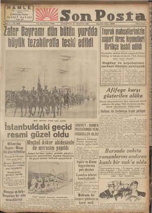 (HAML Müestss, Bugün gıktı Söne 11 — No. 3826 Mıhvercıler Rumen - Macar ihti âfını hallettiler Viyana konferansı dün sona...