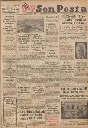 HALKIN GÖZÜ $fj aa ZSon Posta HALKIN DİLİ Yazı işleri telefonu 1 PERŞEMBE 2 İKİNCİKÂNUN 1941 — Sene 11 — No, 3748 ——— -