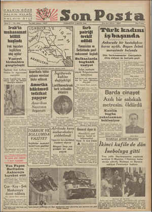 """HALKIN GÖZÜ HALKIN KULAĞI HALKIN-DİBİ """"""""SA """" Son Posta Sene 11 — No. 3864 Yazı işleri telefonu : 20203 CUMARTESİ 3 MAYIS 1941"""