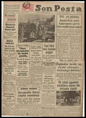 HALKIN GÖZÜ HALKIN KULAĞI SALKIN DIL Sene 12 EH - Ne. 405 50 Z Son Posta PAZAR 9 İKİNCİT TE RİN 1941 Bu ili haherler Vişi...
