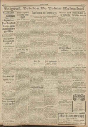 SON POSTA Sayfa 5 Bu sabahki | Macar Başvekili | Haberler Vişiya göre: Japonlar ÇanKayŞek karargâhı merkezine girdiler |