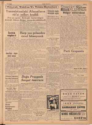 | 'Telgrai, Telefon We Yunanistandaki Almanların ricat yolları kesildi SON POSTA Frarsız ajansı Selâniğin kurtarıldığını
