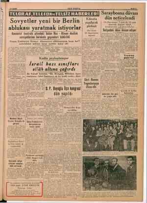 """10 Aralık """" SöÖN POSTA Sovyetler yeni bir Berlin ablukası yaratmak istiyorlar Komünist kontrolü altındaki bütün Rus..."""