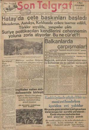 Son Telgraf Gazetesi 4 Mart 1937 kapağı
