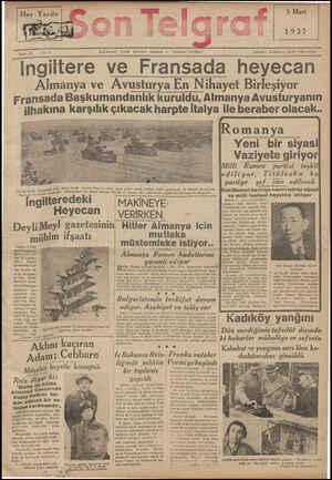 Son Telgraf Gazetesi 5 Mart 1937 kapağı