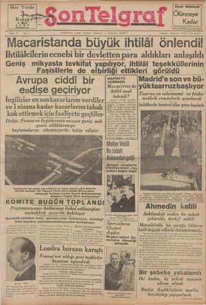 Son Telgraf Gazetesi 6 Mart 1937 kapağı