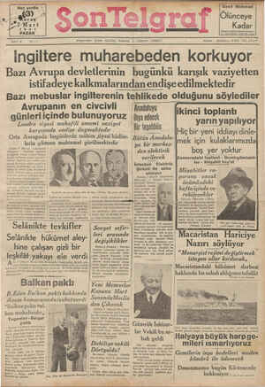 Son Telgraf Gazetesi 7 Mart 1937 kapağı
