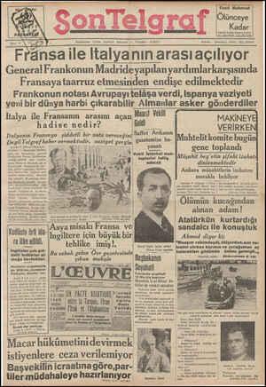 Son Telgraf Gazetesi 8 Mart 1937 kapağı