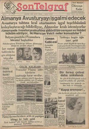 Son Telgraf Gazetesi 9 Mart 1937 kapağı