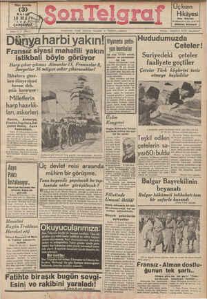 Son Telgraf Gazetesi 10 Mart 1937 kapağı