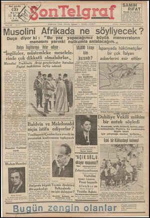Son Telgraf Gazetesi 12 Mart 1937 kapağı