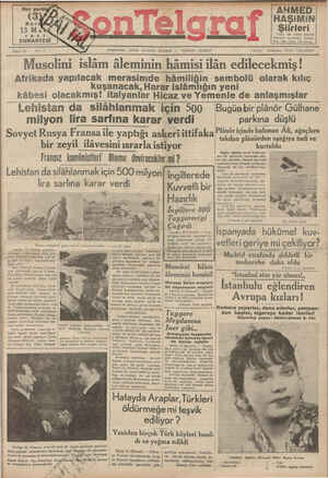 Son Telgraf Gazetesi 13 Mart 1937 kapağı