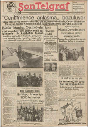 Son Telgraf Gazetesi 14 Mart 1937 kapağı