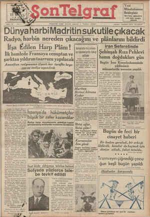 Son Telgraf Gazetesi 15 Mart 1937 kapağı