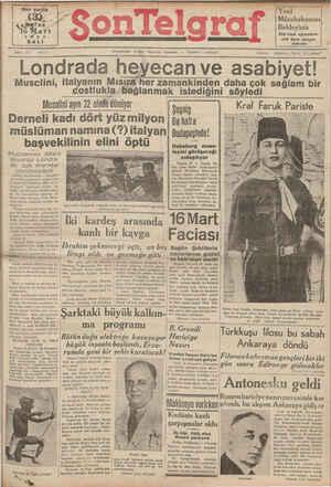 Son Telgraf Gazetesi 16 Mart 1937 kapağı