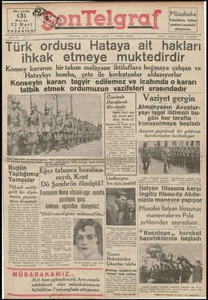Son Telgraf Gazetesi 22 Mart 1937 kapağı