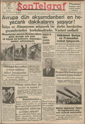 Son Telgraf Gazetesi 23 Mart 1937 kapağı