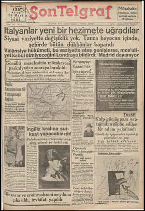 Son Telgraf Gazetesi 26 Mart 1937 kapağı