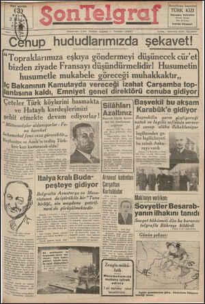 Son Telgraf Gazetesi 2 Nisan 1937 kapağı