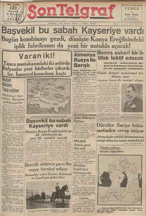 Son Telgraf Gazetesi 4 Nisan 1937 kapağı