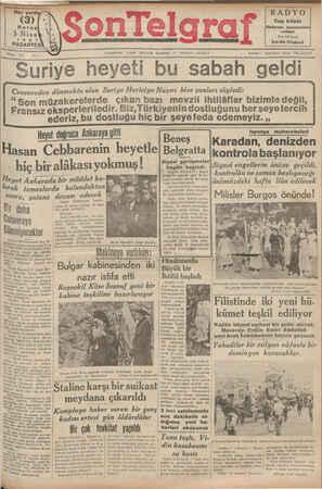 Son Telgraf Gazetesi 5 Nisan 1937 kapağı
