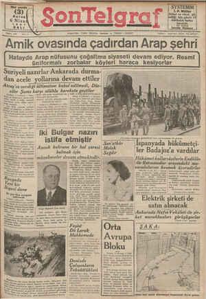 Son Telgraf Gazetesi 6 Nisan 1937 kapağı