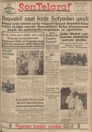 Son Telgraf Gazetesi 11 Nisan 1937 kapağı