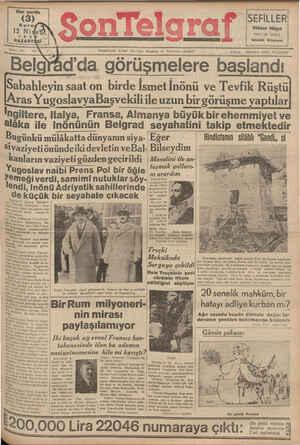 Son Telgraf Gazetesi 12 Nisan 1937 kapağı