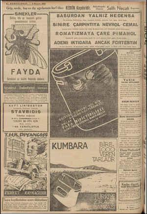 8-SONTELGRAF — 2 Mayıs 1937 Grip, nezle, baş ve diş' ağrılarının İîat'î ilâcı KESKIN Kaşelefinjf, —— SİNEKLER — Sıtma, tifo