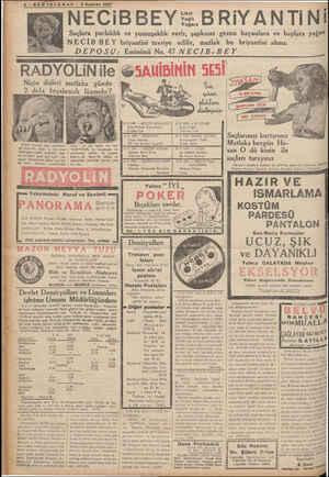 - RADYO 8-SÖOÖNTELGRAF — 5 Haziran 1937 NECiBBEY t Yağlı Yağsız BRiYANTİINİ Saçlara parlaklık ve yumuşaklık verir, şapkasız