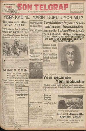 © SAYISI HER YERDE B tün ümidler suya düştü!. Frankocular kat'i neticeyi almak için harekete geçti Madrid boşaltılmaya...