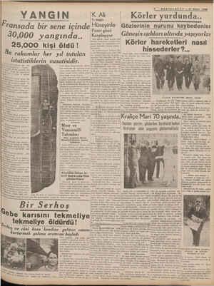 5 — SONTELGRAF — 21 Nisan 1938 %TK-dıâxli | Körler yurdunda.. Fransada bir sene icinde Hüseyinlee Gözlerinin nurunu...