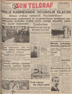 """SAYISI-KER YERDE KURUŞ 16 Mayıs 1938 AZARTESİ 'Sayı: 425 En son Teligrafları ve Haberleri veren Akşam gazetesi """"NGİLİZ..."""