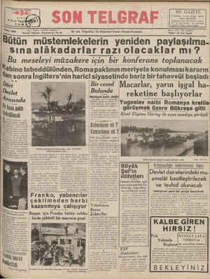 SAYISI HER YERDE Yazı İşleri: Teleton 20B27 Bütü İstanbul Cağaloğlu Nııı-ıııııınlyc No: B4 ün müstemlekelerin yeniden...