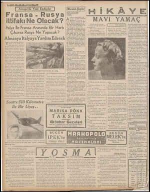 4—8ON TELGRAF — B 2.inci Künun 1939 Avrupa'da Yeni Endişeler Fransa - Rus ya ittifakı Ne Olacak? | İtalya İle Fransa Arasında