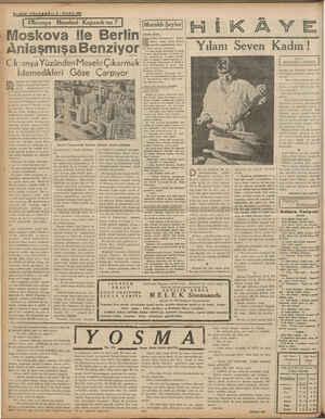 """"""" Moskova İle Berlin nlaşmışa Benziyor — Ck anya Yüzünden Mesele Çıkarmak İstemedikleri Göze Çarpıyor 4—SON . TE ı Okranya"""