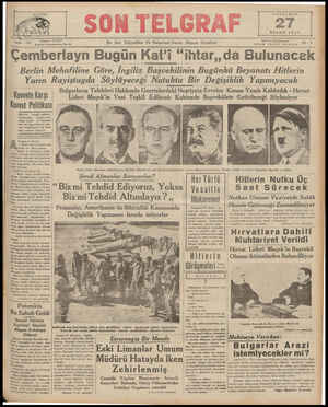 I'I RŞE Wlhl 27 NİSAN 1939 Telefon: 20827 767 İ.ıllnbul Nuruosmaniye No. 54 Çemberlayn Bugün En Son Telgrafları Ve Haberlerı