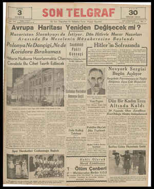 Z   SON TELGRAF   55. NİSAN 1939 Teletos: 20827 — İstanbal Nuıuoımınıyı 7'.'0 En Son Telgraflan Ve Haberlerı Veren Akşam...