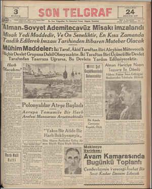 SAYISI 3 KURUŞ Telefon: Başmuharrir: 20827 — İdare Müdürü: 23306 İstanbul Nuruosmaniye No. 54 Iman.Sovyet Ademitecavüz Misakı