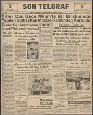 SAYISI SON TELGRAF Telefen: Başmuharrir: 20827 — İdare Müdürü: 23300 İstanbul Nuruosmaniye Ne. H KURU t $ 2inci TEŞR'N 1939
