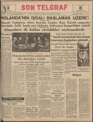 SAYISI URUŞ CARŞAMBA MAYIS 1940 Yı ; Tizg  Telefon: Başmuharrir: 20827 — İdare Müdürü: 23300 lm.ıbuı Nuruosmaniye No. sı En