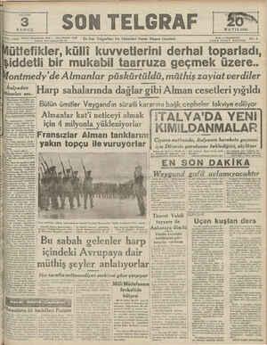 YI 11150 Telefon: Başmuharrir: zmm — İdare Müdürü: 23300 İstanbul Nuruosmaniye Ne. 54 — — — !talyadan ükselen ses.....