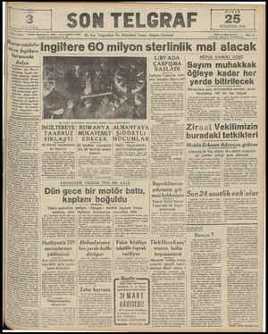 PAZAR 25 AĞUSTOS 1949 AM 1247 tsırın müdafa- 881 ve İngiltere karşısında İtalya İngilider için Mosırın | Müdafaası İngiliz