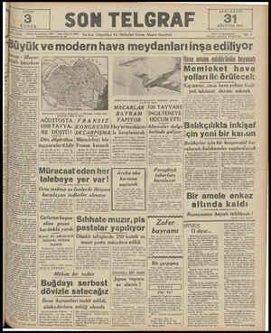 fon: Başmuharrir: 20827 — İdare Müdi İstanbul Nuruosmaniye No, G4 | SON TELGRAF AĞUSTOS 19409 | | z0 — En Son Telgrafları Ve