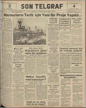 : Başmuharrir: 20827 — SON TELGRAF İdare Müdürü: 23300 İıhnbul Nuruosmaniye No. u Memurların Terfıı için Yeni Bir Proje...