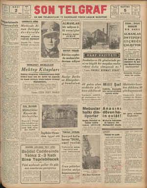 """Baş b İDARE 23300 Ship ve Başmuharrir: ETEM Üa B EYLÜL 1941 TELGRAF İstanbul Son Telgratf İZZET BENİCK B""""lgaı'îstaıııla..."""