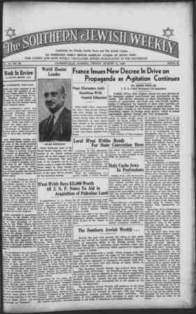 Southern Jewish Weekly Gazetesi 11 Ağustos 1939 kapağı